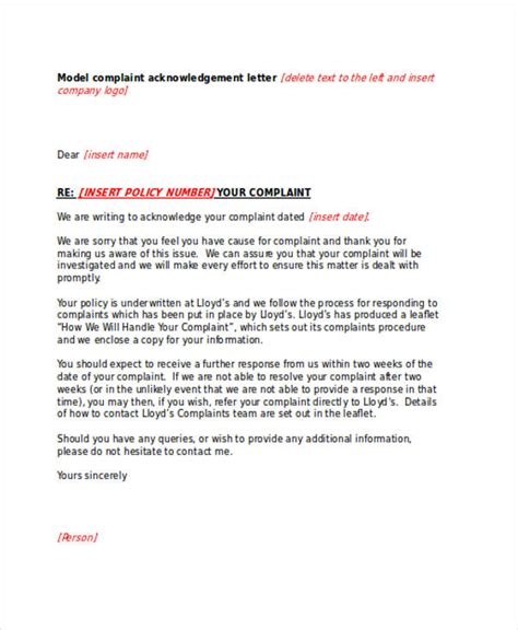 Complaint Receipt Acknowledgment Letter For Customer 41 Acknowledgement Letter Exles Sles