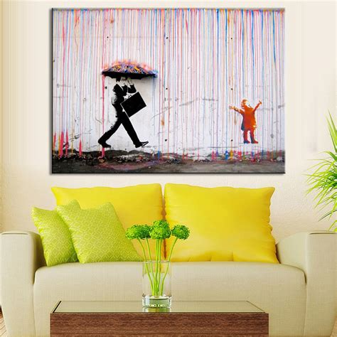wall decoration ideas living room inspiring exemplary wall living banksy art colorful rain wall canvas wall art living room