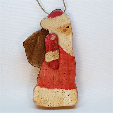 primitive santa wooden christmas ornament movable arm