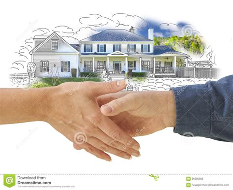 house shaking shaking hands in front of new house drawing photo combination stock photo image