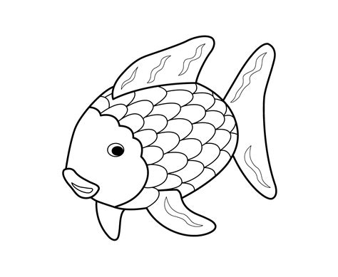 Rainbow Fish Outline Page rainbow fish outline coloring home