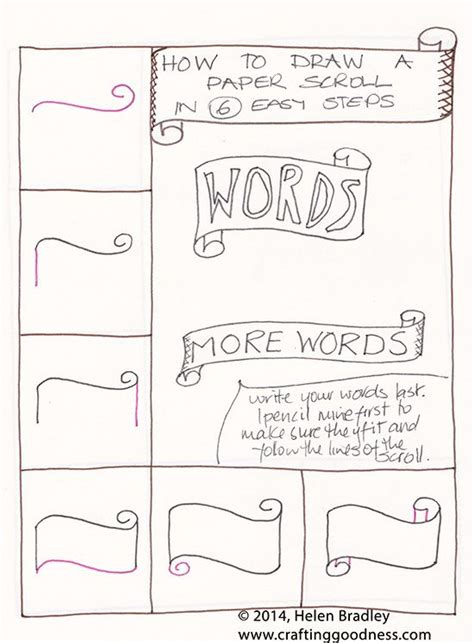 learn how to draw doodle draw a word scroll banner step by step learn to draw