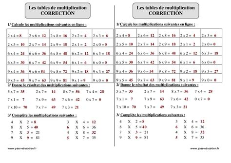 tables de multiplication ce2 exercices corrig 233 s