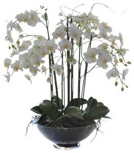 artificial orchids phalaenopsis in glass flower arrangement traditional artificial flowers plants and trees