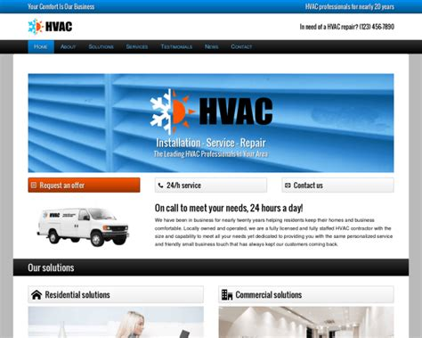 Air Conditioning Company Website Template Popteenus Com Heating And Air Conditioning Website Templates