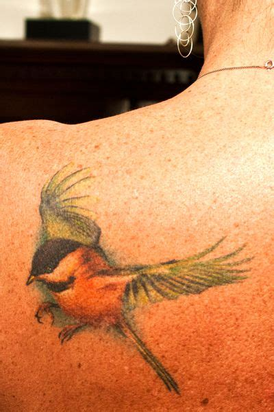chickadee tattoo chickadee flying