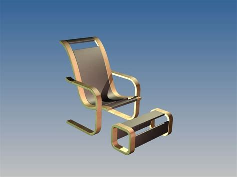 C Chair With Footrest by Chair With Footrest Free 3d Model Cgtrader