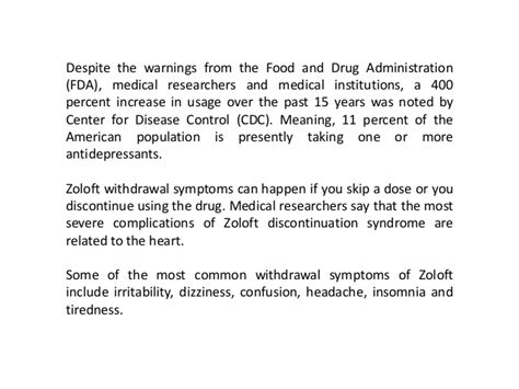 How To Detox From Zoloft by Zoloft Withdrawal Symptoms May Be Dangerous