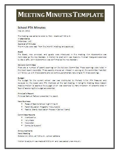 meeting minutes template word templates