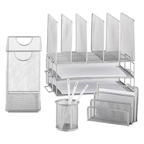 Silver Mesh Desk Accessories Silver Mesh Magazine File The Container Store