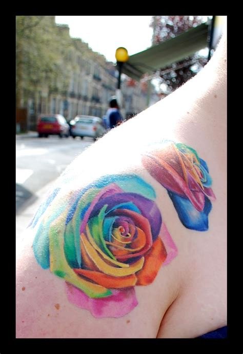 colorful roses tattoos 47 best colorful images on
