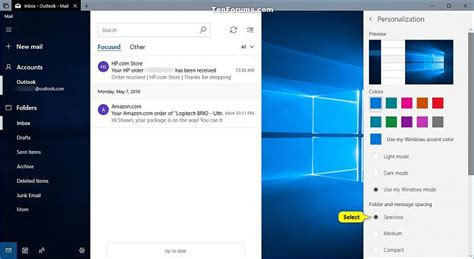 windows 10 mail app tutorial change folder and message spacing density in windows 10
