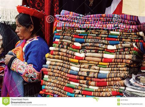 Selling Handmade - peruvian selling handmade blankets editorial image