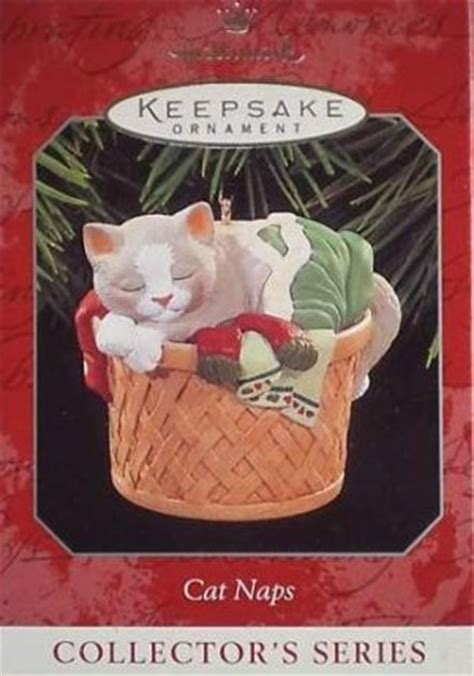 hallmark cat ornaments hallmark keepsake ornament cat naps 1998 gray white cat laundry basket cats 5 vgb v