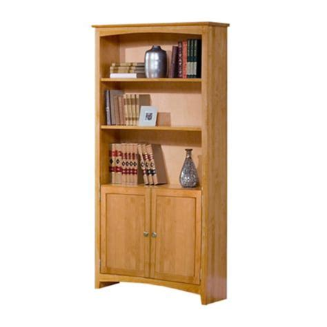Six Shelf Solid Wood Bookcase With Doors 84h 8824001 Solid Wood Bookcase With Doors