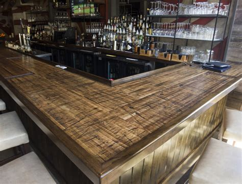 bar table tops boxcar planks make great bar counter and table tops