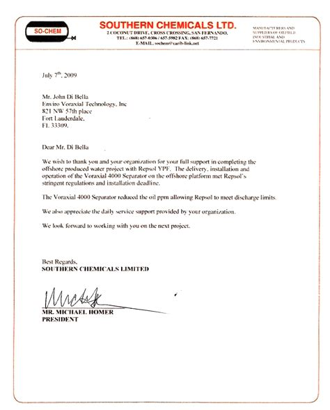 Endorsement Letter To Attend Shale Fracking Produced Water Treatment Cleanup Company Voraxial 174 Technology