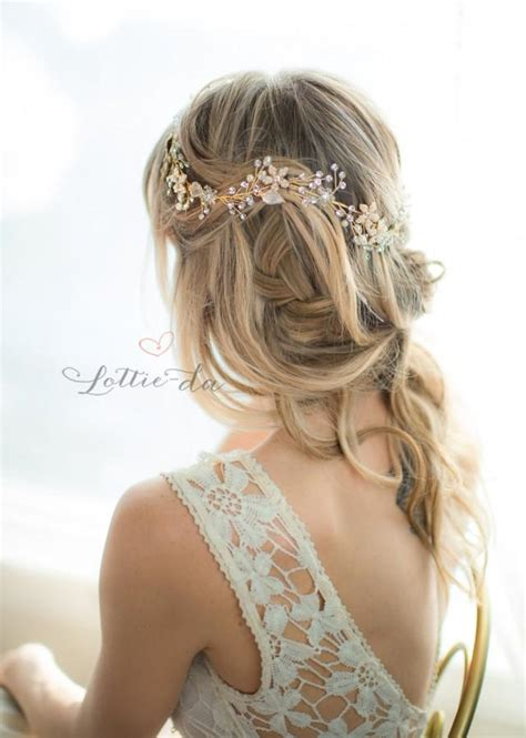 Vintage Wedding Hair Vines by Gold Boho Flower Crown Wedding Headpiece Bridal Hair Vine