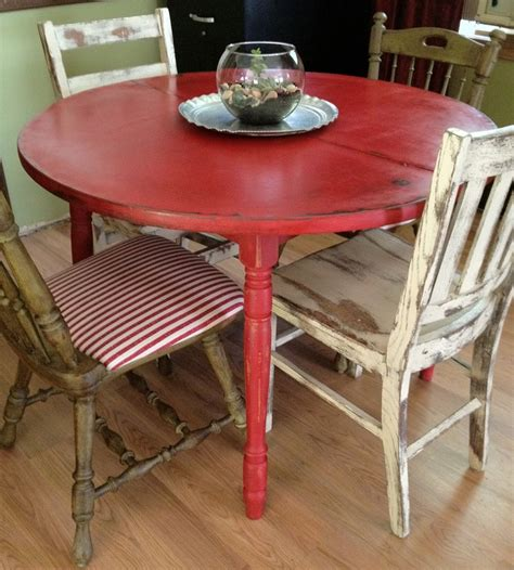 distressed round country kitchen table table and chairs