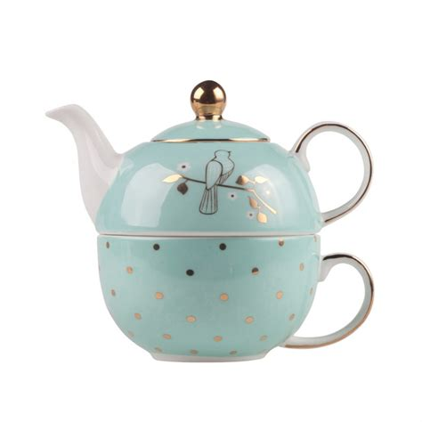 Teapot Melamin Golden miss darcy tea for one set mint and gold