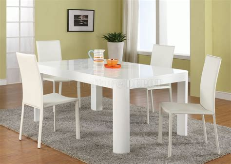 modern white dining table set white gloss finish modern dining table w optional chairs