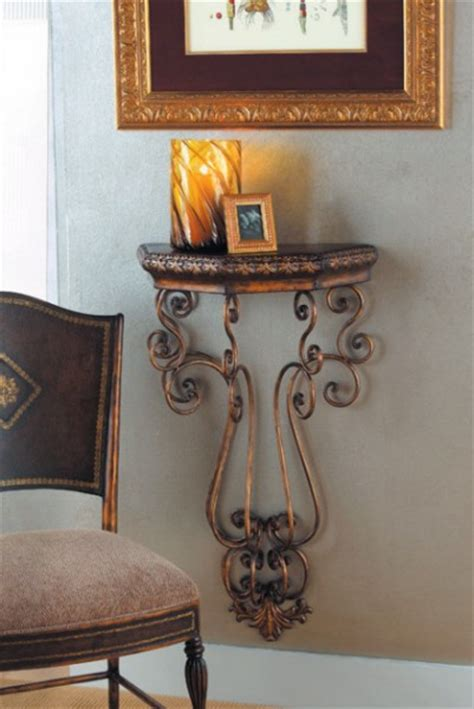 wall accent tables wall mounted table scroll accent iron shelf metal ebay