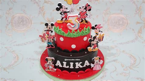 cara membuat kue ulang tahun tingkat 3 how to make birthday cake mickey mouse 2 layers cara