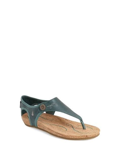 ahnu serena sandals ahnu serena leather sandals in blue dusty teal