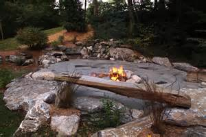Stamped Concrete Patio With Fire Pit by Indian Run Landscaping Natural Flagstone Patio With Fire
