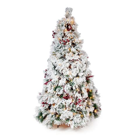 7 5 ft flocked pine needle slim pre lit christmas tree
