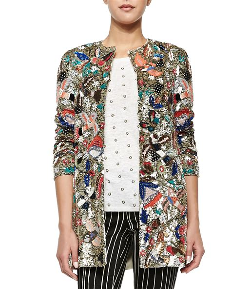 beaded blazer rory beaded sequined collarless jacket in