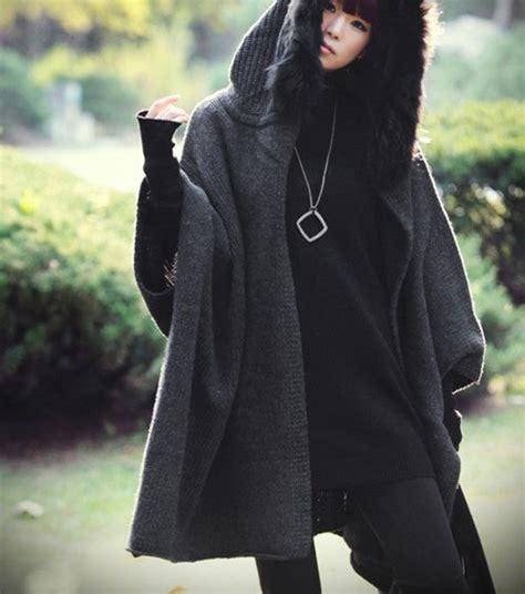 grey cape raccoon fur collar coat winter coat autumn wool knitted coat sweater