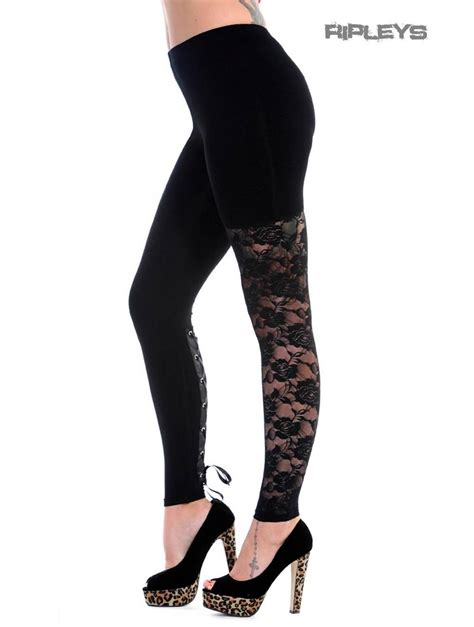 Legging All Size banned grunge black 1 leg lace up all sizes