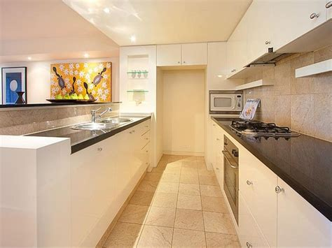 modern galley kitchen design modern galley kitchen design using granite kitchen photo