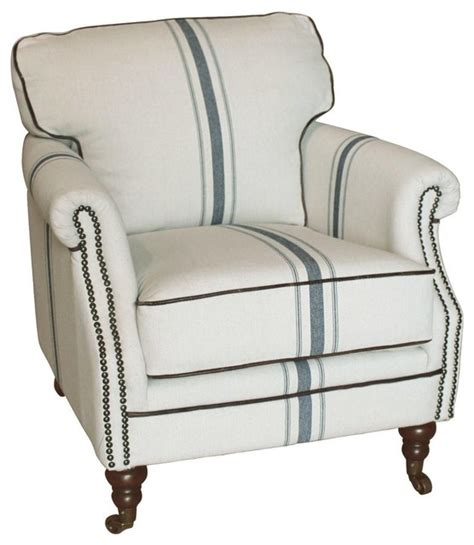 blue striped chair camilla striped linen and blue club chair traditional