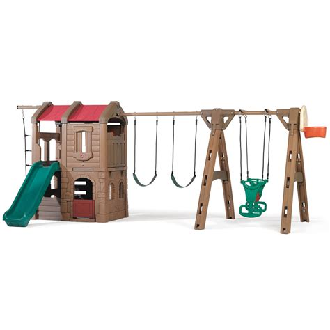 step 2 swing sets adventure lodge play center with glider and sandbox combo