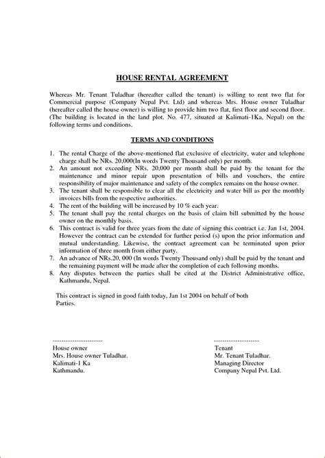 Rent Agreement Letter Format In 4 Lease Agreement Format Teknoswitch