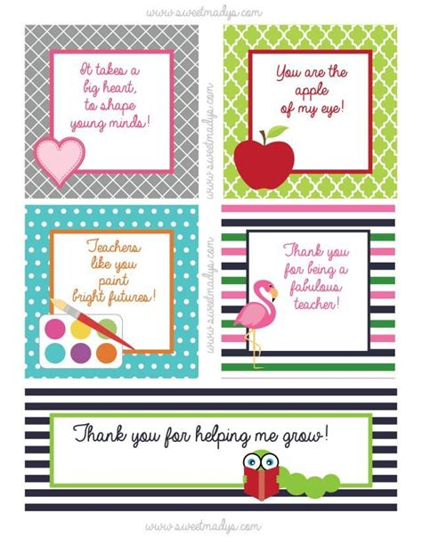 printable teacher s day gift tags 17 best images about teacher appreciation ideas on