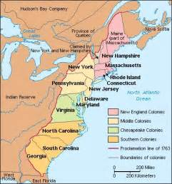 map of original 13 colonies
