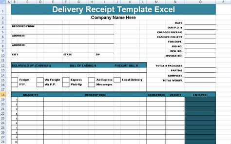 delivery receipt template get delivery receipt template excel xls free project