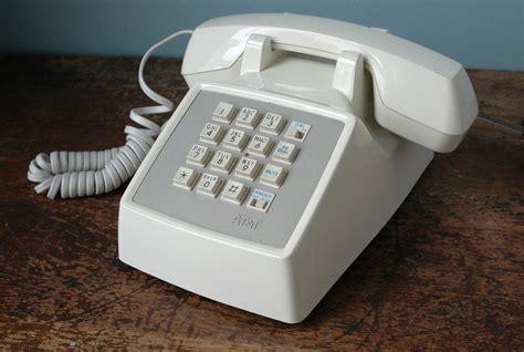 vintage white phone at t push button desk retro phone