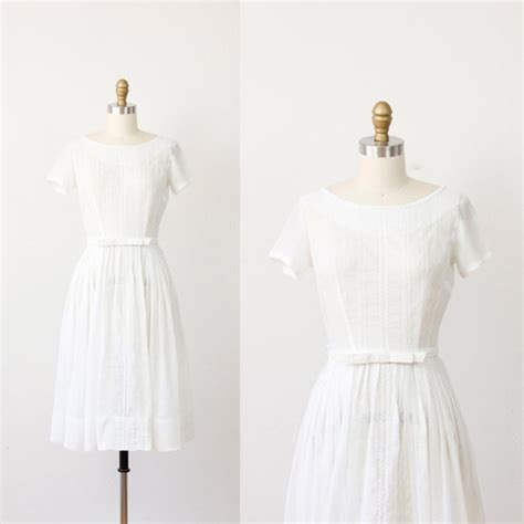 Vintage Cotton Wedding Dresses by White Embroidered Cotton Vintage Wedding Dress
