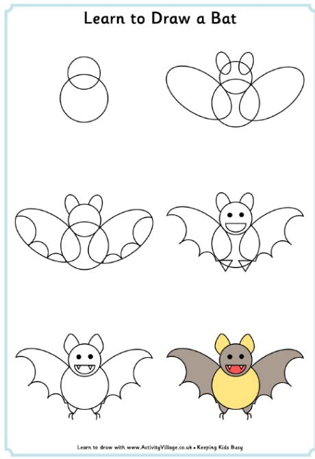 learn to draw learn to draw a bat