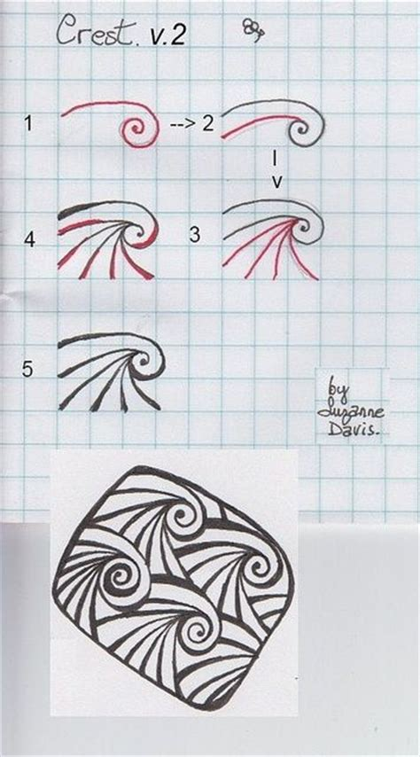 Zentangle Wave Pattern   crest ver 2 by sheridanwild via flickr art inspiration
