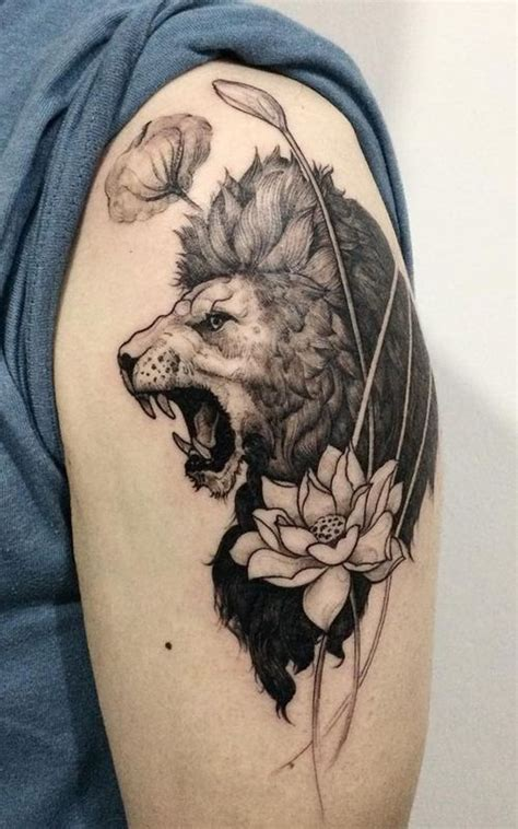 lotus tattoo with lion top 30 excellent roaring lion tattoo ideas 2018