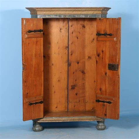 antique armoire from hungary with original blue grey paint