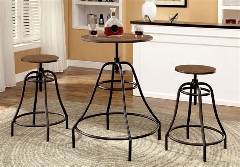 Oak Bar Table And Stools by 3 Pieces Adjustable Height Swivel Oak Bar Table