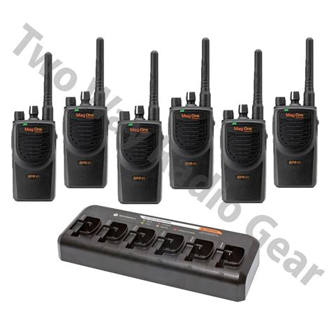 Motorola Bpr40 Portable Radio 6 Pack With Multi Unit Charger