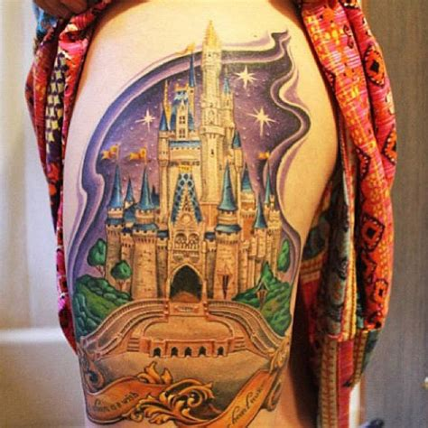 disney castle tattoo on hip