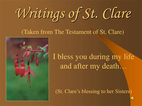 the writings of st ppt writings of st clare powerpoint presentation id 186816
